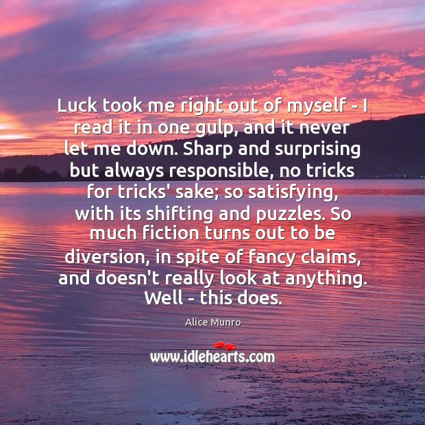 Image, Luck took me right out of myself – I read it in