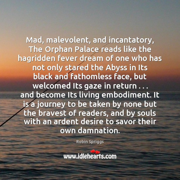 Mad, malevolent, and incantatory, The Orphan Palace reads like the hagridden fever Image