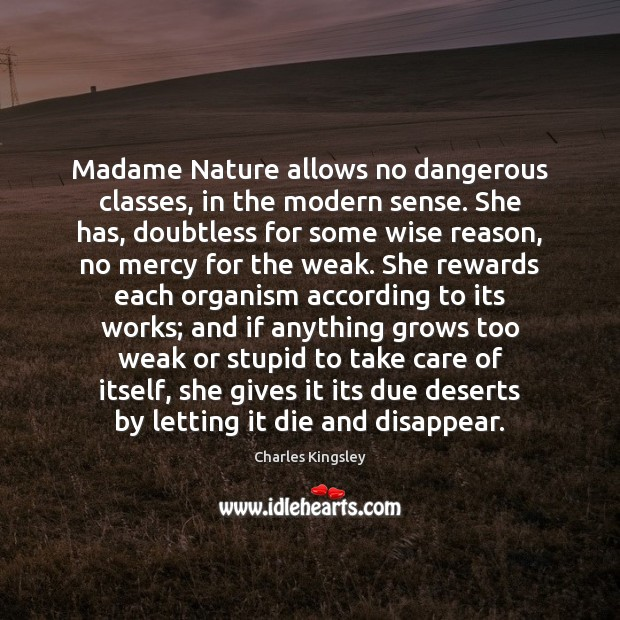 Madame Nature allows no dangerous classes, in the modern sense. She has, Charles Kingsley Picture Quote