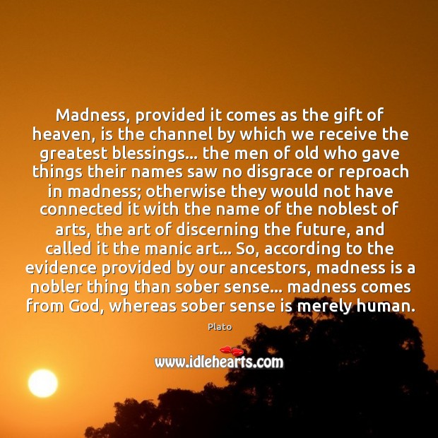 Madness, provided it comes as the gift of heaven, is the channel Image
