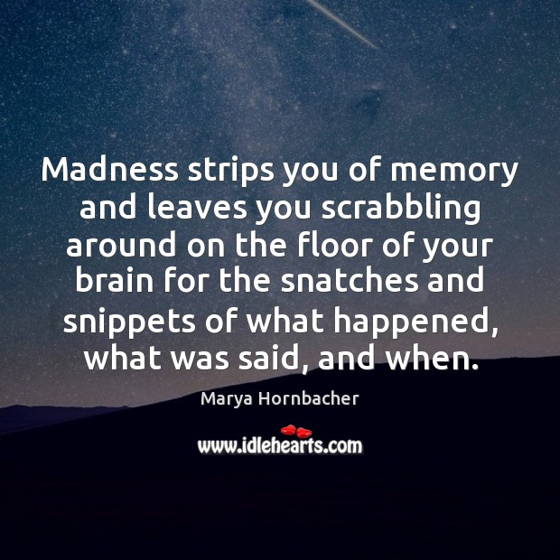 Madness strips you of memory and leaves you scrabbling around on the Marya Hornbacher Picture Quote