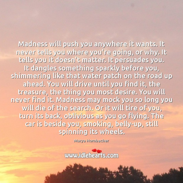 Madness will push you anywhere it wants. It never tells you where Car Quotes Image