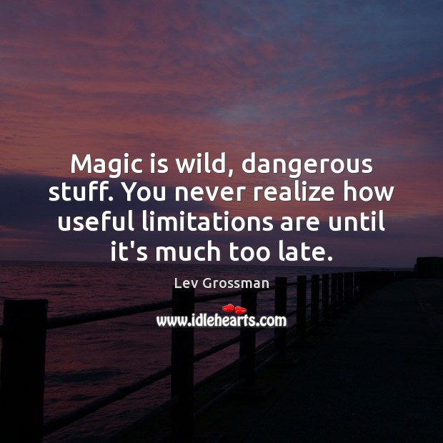 Magic is wild, dangerous stuff. You never realize how useful limitations are Lev Grossman Picture Quote