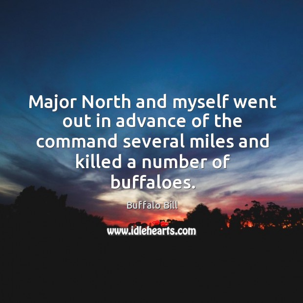 Major north and myself went out in advance of the command several miles and killed a number of buffaloes. Image
