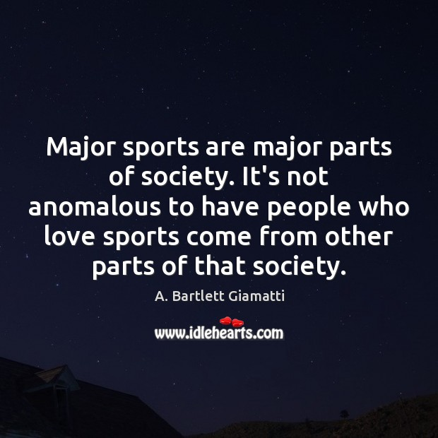 Image, Major sports are major parts of society. It's not anomalous to have