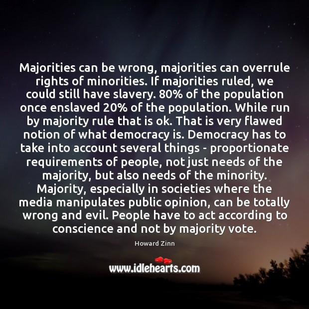 Majorities can be wrong, majorities can overrule rights of minorities. If majorities Image
