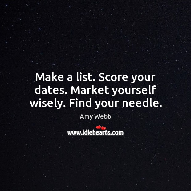 Make a list. Score your dates. Market yourself wisely. Find your needle. Image