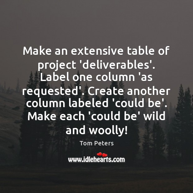 Make an extensive table of project 'deliverables'. Label one column 'as requested'. Tom Peters Picture Quote