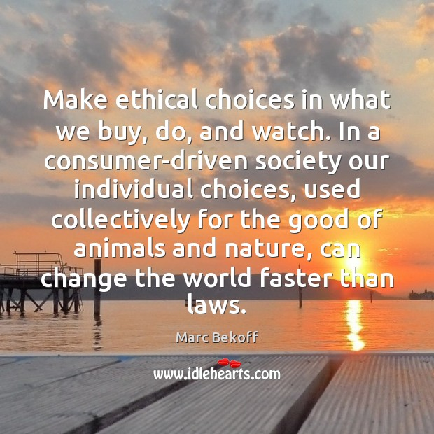 Make ethical choices in what we buy, do, and watch. In a Image