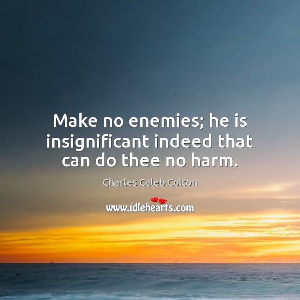 Make no enemies; he is insignificant indeed that can do thee no harm. Image