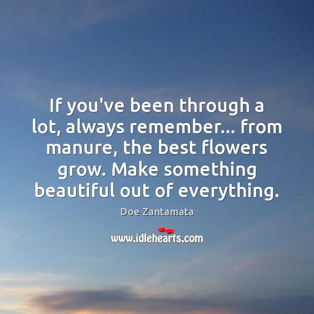 Make something beautiful out of everything. Positive Quotes Image