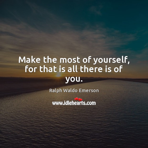 Image, Make the most of yourself, for that is all there is of you.