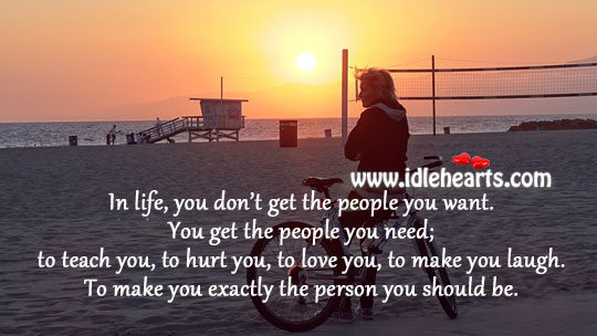 In life, we don't get the people we want. Hurt Quotes Image