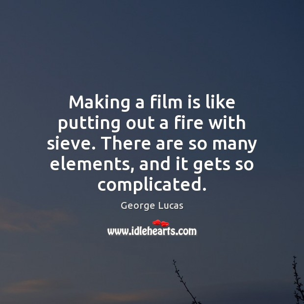 Making a film is like putting out a fire with sieve. There Image