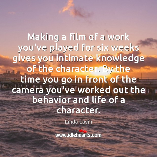 Making a film of a work you've played for six weeks gives Behavior Quotes Image