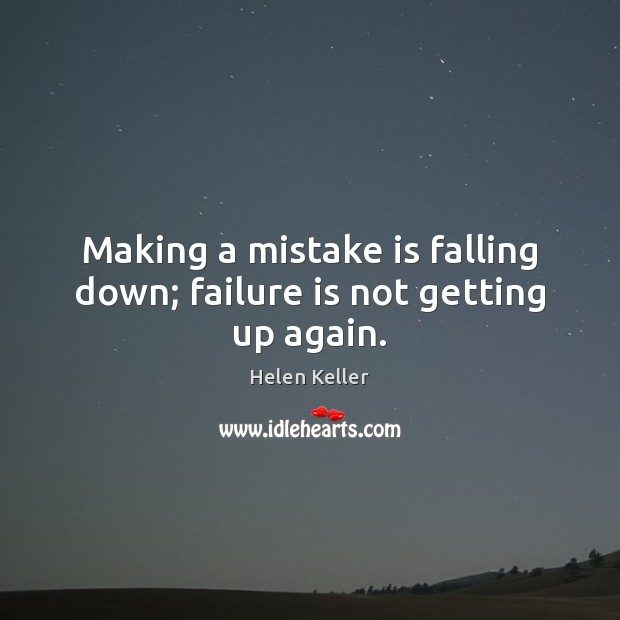 Making a mistake is falling down; failure is not getting up again. Mistake Quotes Image