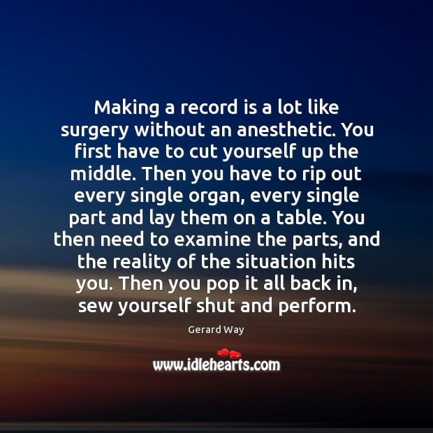 Image, Making a record is a lot like surgery without an anesthetic. You