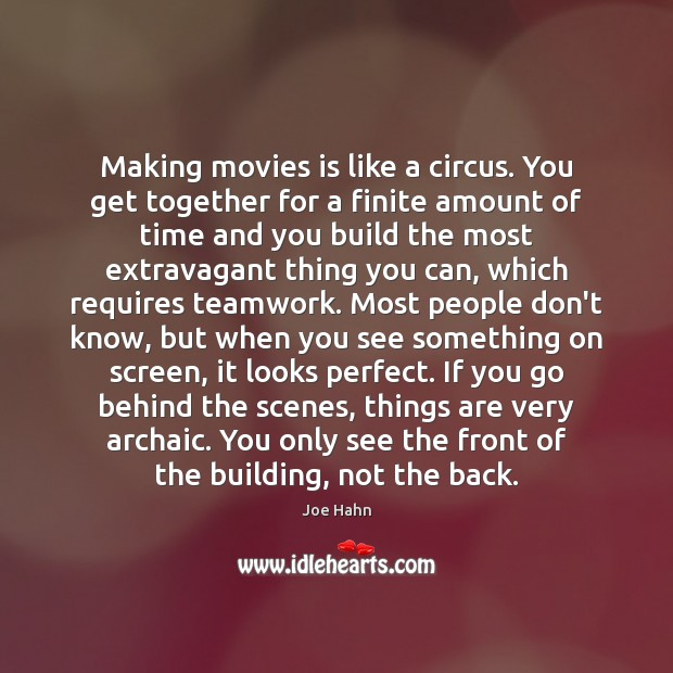 Making movies is like a circus. You get together for a finite Joe Hahn Picture Quote