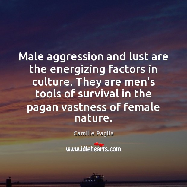 Male aggression and lust are the energizing factors in culture. They are Image