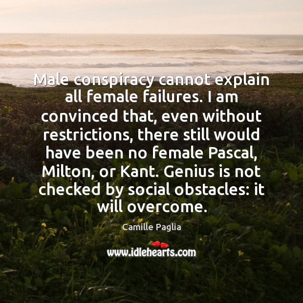Male conspiracy cannot explain all female failures. I am convinced that, even Image