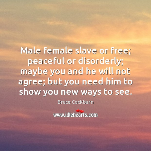 Image, Male female slave or free; peaceful or disorderly; maybe you and he