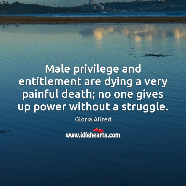 Male privilege and entitlement are dying a very painful death; no one Image