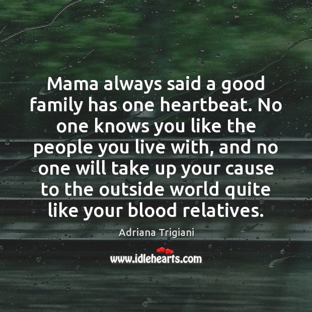 Mama always said a good family has one heartbeat. No one knows Adriana Trigiani Picture Quote