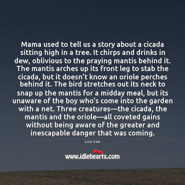 Mama used to tell us a story about a cicada sitting high Lisa See Picture Quote