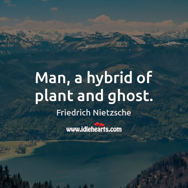 Man, a hybrid of plant and ghost. Image