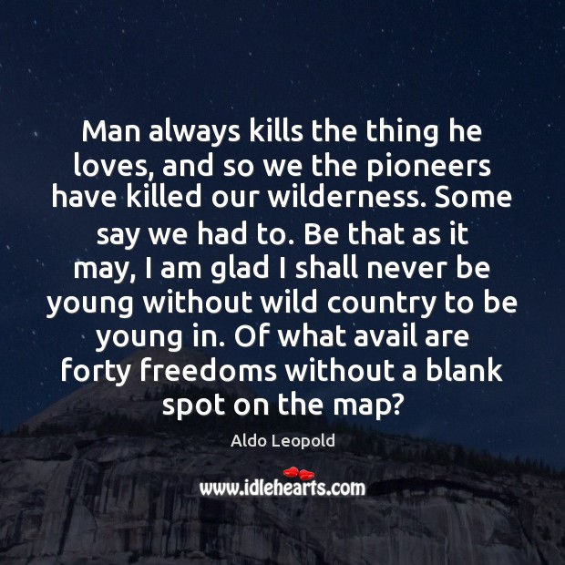 Man always kills the thing he loves, and so we the pioneers Image