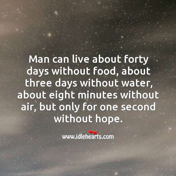 Man can live only for one second without hope. Image