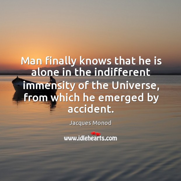 Man finally knows that he is alone in the indifferent immensity of Image