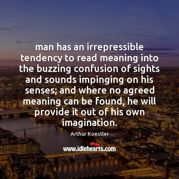 Image, Man has an irrepressible tendency to read meaning into the buzzing confusion