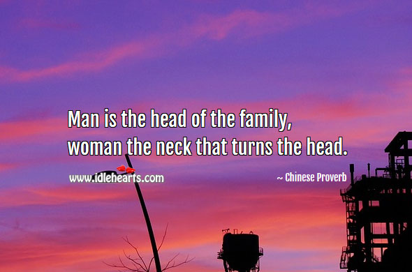 Image, Man is the head of the family, woman the neck that turns the head.
