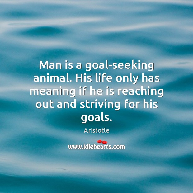Image, Man is a goal-seeking animal. His life only has meaning if he