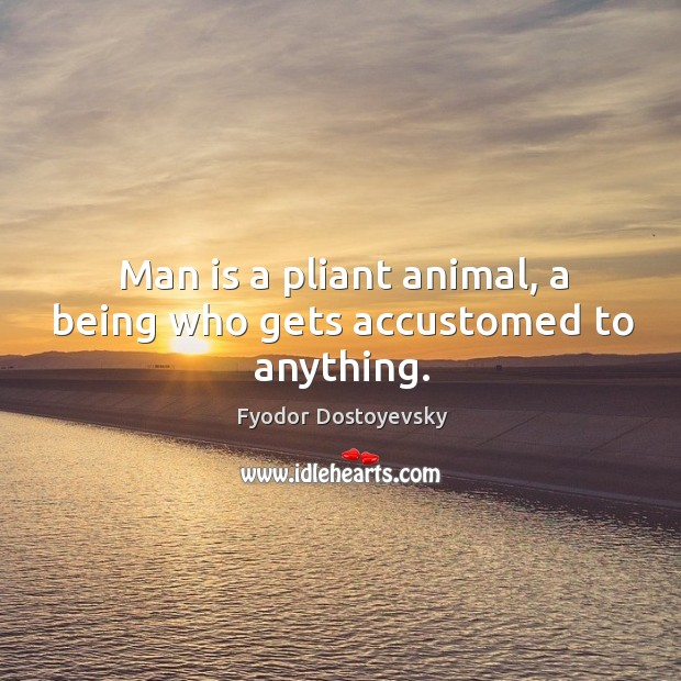 Man is a pliant animal, a being who gets accustomed to anything. Image