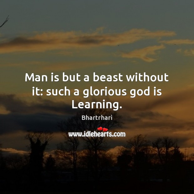 Image, Man is but a beast without it: such a glorious god is Learning.