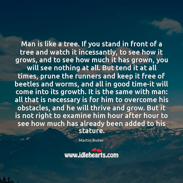 Man is like a tree. If you stand in front of a Martin Buber Picture Quote