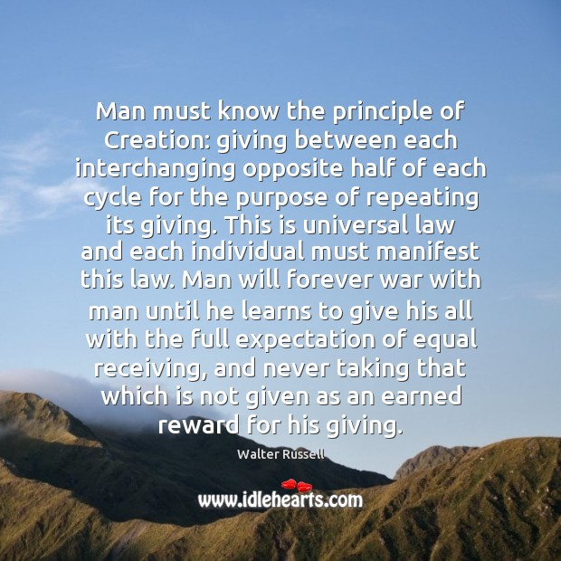 Man must know the principle of Creation: giving between each interchanging opposite Walter Russell Picture Quote