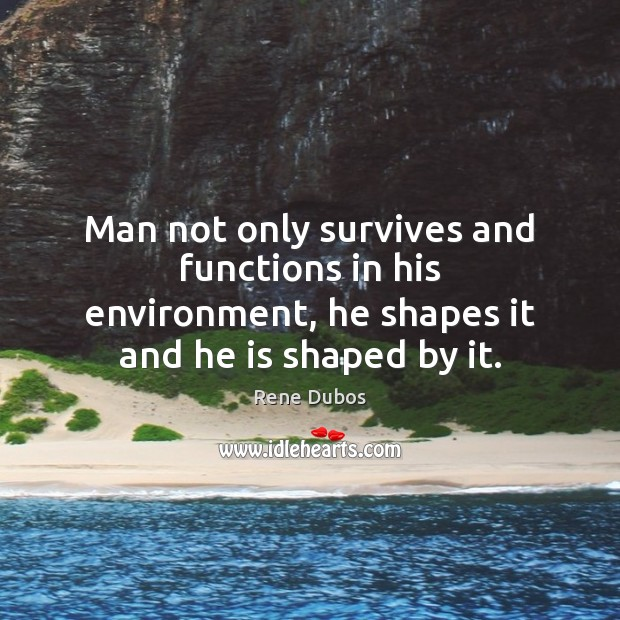 Man not only survives and functions in his environment, he shapes it Rene Dubos Picture Quote