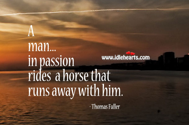 Image, A man in passion rides a horse that runs away with him.