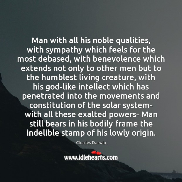 Image, Man with all his noble qualities, with sympathy which feels for the