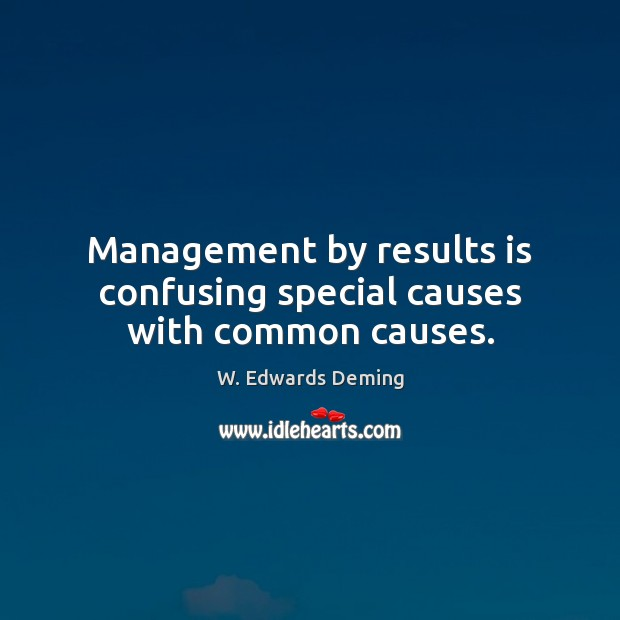 Management by results is confusing special causes with common causes. W. Edwards Deming Picture Quote
