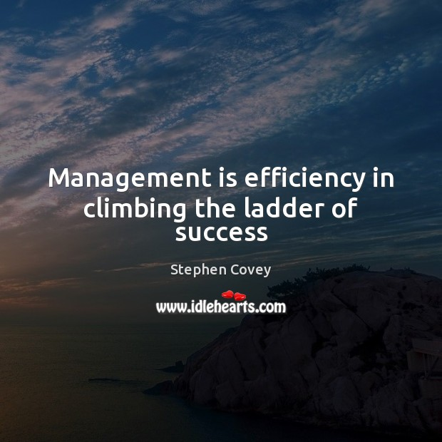 Management is efficiency in climbing the ladder of success Management Quotes Image
