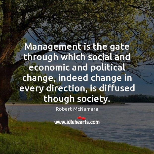 Management is the gate through which social and economic and political change, Management Quotes Image
