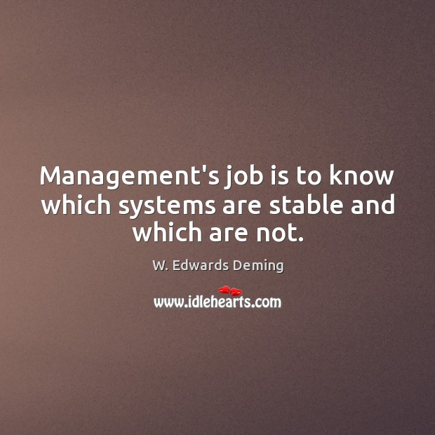 Management's job is to know which systems are stable and which are not. W. Edwards Deming Picture Quote