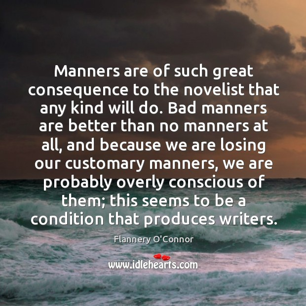 Manners are of such great consequence to the novelist that any kind will do. Image