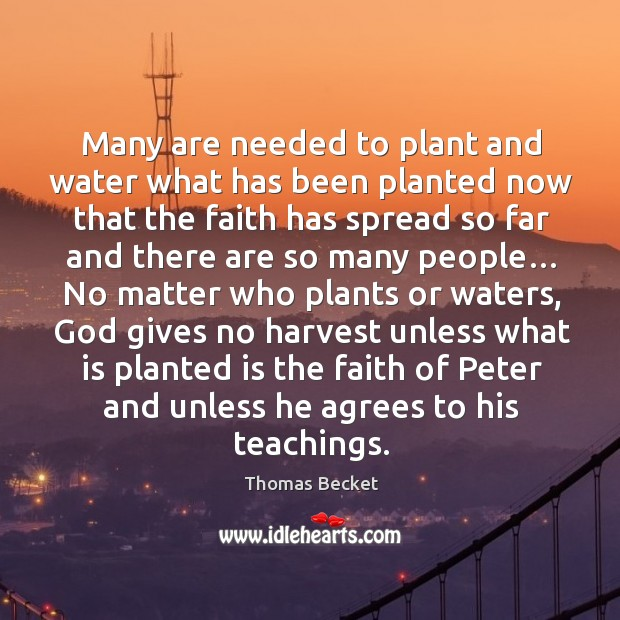Many are needed to plant and water what has been planted now that the faith has spread Image