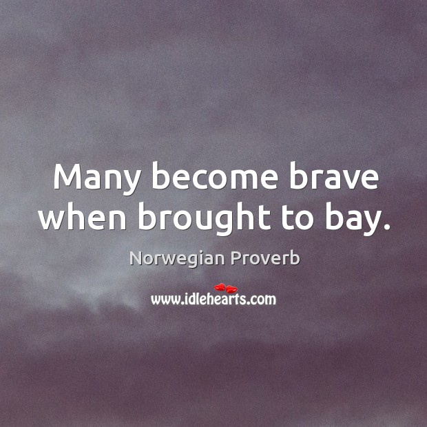 Many become brave when brought to bay. Norwegian Proverbs Image