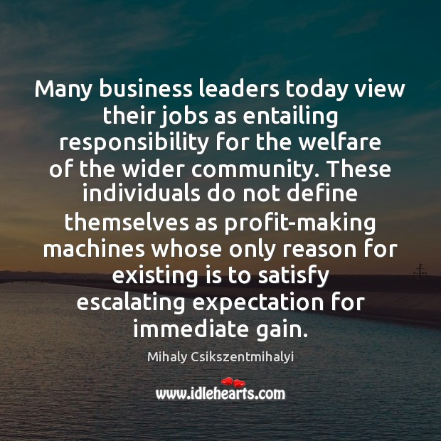 Many business leaders today view their jobs as entailing responsibility for the Mihaly Csikszentmihalyi Picture Quote